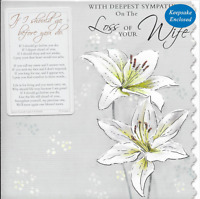 DEEPEST SYMPATHY ON THE LOSS OF YOUR WIFE CARD,lily SENTIMENTAL KEEPSAKE CARD(S2