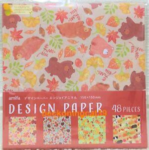 Amifa Animal Fall Autumn Design Paper 48 Origami Bear Squirrel Fox Hamster JAPAN