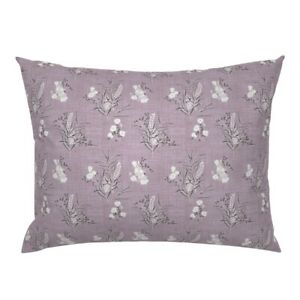 Purple Tiny Floral White Flowers Texture Woven Flower Pillow Sham by Roostery