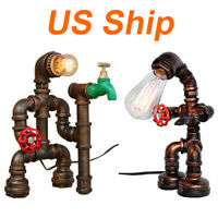 Robot Lighting Fixtures Water Pipe Steampunk Vintage Table Desk Lamp US Shipping
