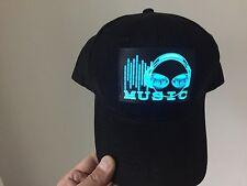 SOUND Activated LED LIGHT UP FLASHING EQUALIZER PURPLE DJ LOGO PARTY HAT CAP