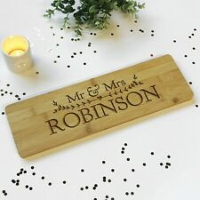 Personalised Wooden Mr & Mrs Surname Wedding Plaque Sign Board Anniversary Gift