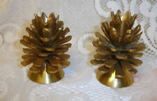 Pair Solid Brass Pinecone Candle Holders CHRISTMAS TREE