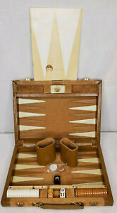 Vtg Aries of Beverly Hills Travel Size Backgammon Set Clean Complete