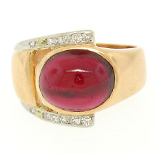 Antique Edwardian 14k Rose Gold Platinum Cabochon Garnet Diamond Buckle Ring