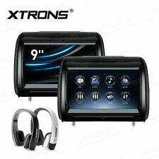 "US 2 x 9"" Car Headrest 1080P DVD Player Pillow Monitor USB SD HDMI FM IR Game"