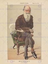 PITTURA disegno CHARLES DARWIN Vanity Fair SELEZIONE NATURALE ART PRINT bb3206b