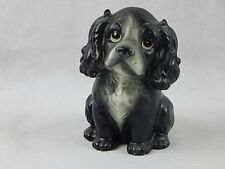 Vintage Ceramic Black and White Puppy Dog Figurine Planter