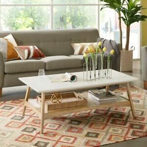 """Parker Coffee Table Off-White/Natural Wood 45"""" Wide Madison Park"""