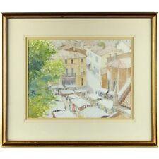 ORIGINALE Mediterraneo mercato dipinto ad Acquerello incorniciato firmato 46 x 54cm