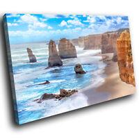 SC537 Blue Orange Beach Cliffs Nature Landscape Canvas Wall Art Picture Prints