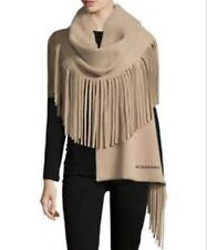 Brand New Burberry Camel Solid Felted Fringe Shawl Scarf ( Made In Italy )