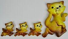Vintage 1970 Miller Studio Chalkware Cat & 3 Kittens Plaster Wall Hanging- NICE!