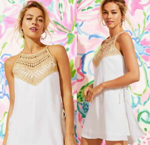 $178 NEW Lilly Pulitzer PEARL ROMPER Resort White Gold Lace Shift 4