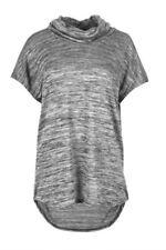 Maglie e camicie da donna a manica corta grigia con cappuccio