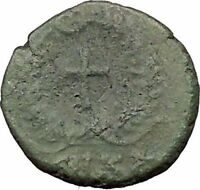 THEODOSIUS II 425AD  Ancient Roman Coin CROSS within wreath  i31571