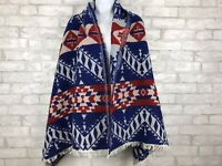 Shiraleah Chicago Mohair Blend Tribal Red White Blue Wrap Scarf Blanket 73x28""