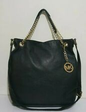 Michael Kors Bedford large black leather chain shoulder hobo bag