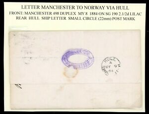 1884  Hull Ship Letter on Cover Manchester to Norway via Hull     (O526)