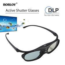 3D Active Shutter Glasses DLP-Link 96/144Hz USB Black For BenQ Sharp Optama Acer