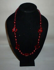 Vintage Glass Metal Plastic Chunky Crimson Red Bead Fashion Necklace - FN0059