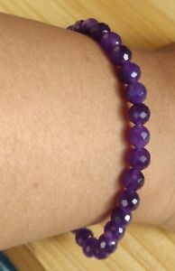 8 MM NATURAL AMETHYST ROUND SPHERE INTUITIVE INNOVATIVE BEADS BRACELET 17 GM