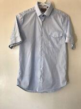 Zara Man Button Front Shirt Blue Womens Superslim Fit Short Sleeve career