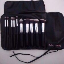 Beautiful 10 pcs Kabuki brush set with black brush roll storage case f/brushes