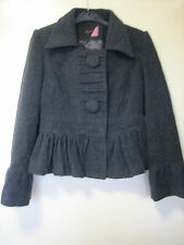 A WOMENS LOVELY JO-THIRTY GREY  COAT  SIZE 10   SNAP BUTTON FASTENER