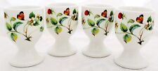 Strawberries & Butterflies Eggcups Set 4 Bone China Egg Cups Decorated in U.K.