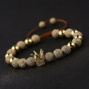 Fashion Men Luxury Micro Pave CZ Crown Braided Adjustable Bracelets Charm Gift