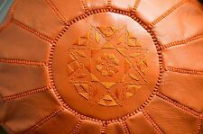 Moroccan poufs/ ottomans/ orange/ handcrafted/ leather/ poof/ moroccan decor