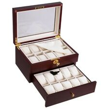 20 Slots Watch Box Display Case Collector Men Valentine's Gift Cherry Wood
