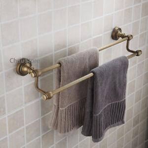 Antique Brass Bathroom Double Towel Rail Rack Bar Holder Hanger Wall Mount Shelf