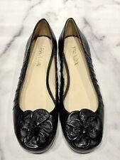 PRADA Black Leather Flower Ballerina Flat Shoes
