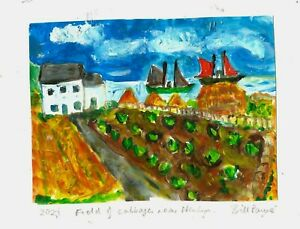 """2021""""Field of cabbages near Newlyn"""" by Bill Payne,Mary Jewels genre."""