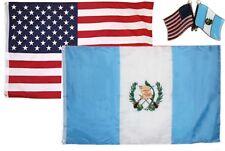 Wholesale Combo USA & Guatemala Country 3x5 3'x5' Flag & Lapel Pin