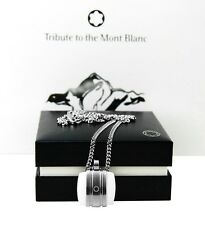 MONTBLANC TRIBUTE TO MONTBLANC WHITE AGATE STAINLESS STEEL NECKLACE 106715 NEW