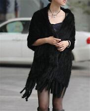 100% echte gestrickte Nerz Pelz Stola Cape lange Frauen Schals schwarz lang