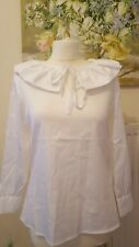 TED BAKER IRYSD White Frill Neck Top Blouse With Tie. Size 1 UK 8 £109 cotton