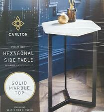 Decorative Premium Marble Solid Top Hexagonal Side Table With Black Metal Legs