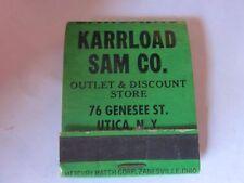 vintage Karrload Sam Co. Utica, NY outlet discount stores 50's era matchbook