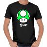 Mushroom Pilz 1 UP Gamer Nerd Geek Geschenk Sprüche Lustig Spaß Comedy T-Shirt