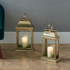 Antique Brass Steel & Glass Oblong Lantern