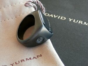 David Yurman Men's Black Titanium Black Onyx Stone Signet Ring  Size 8