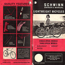 1971 Schwinn Lightweight Bicycles Owners Manual Single Speed Three Speed Models