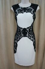 Betsy & Adam Dress Sz 4 White Black Laced Cap Sleeve Cocktail Evening Party Dres
