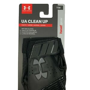 Under Armour Clean Up Batting Gloves Youth Small Black 1299531 Baseball Gloves