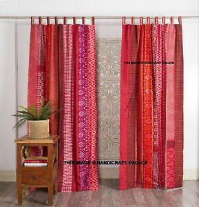 2 Pcs Indian Old Sari Patchwork Curtain Drape Window Decor Silk Sare Curtain Red