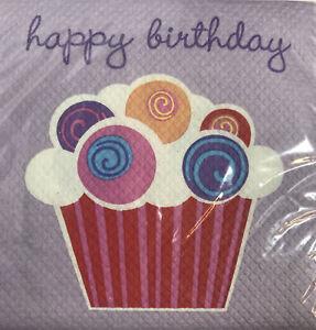 Cupcake Happy Birthday Party 32 Count Beverage Dessert Napkins Lavender Purple
